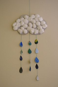 rain cloud mobile (have kids punch out raindrops)