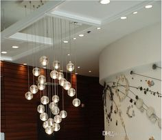 Fashion LED Clear Or Air Bubble Crystal Ball Pendant Lights Meteor Shower Pendant Lamp Stair Dining Room Bar Light Fixtures, $59.25 | DHgate.com
