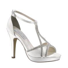 9099a87c9f990 Touch Ups Women s Harlow T-Strap Platform Sandal White Satin Size 5 M
