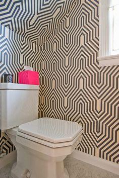 Home Chic Raleigh - half bath wallpaper, geometric wall paper, wall paper, wallpaper
