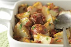 Roasted Red Potatoes with Bacon & Cheese recipe - Love is not a strong enough word for what Jeremy thought of these. So yummy!