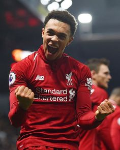 Trent Alexander-Arnold of Liverpool celebrates after scoring the second goal during the Premier League match between Watford FC and Liverpool FC at Vicarage Road on November 2018 in Watford,. Liverpool Anfield, Liverpool Champions, Salah Liverpool, Liverpool Players, Liverpool Football Club, Alexander Arnold, Free Football, Football Players, Sport Football