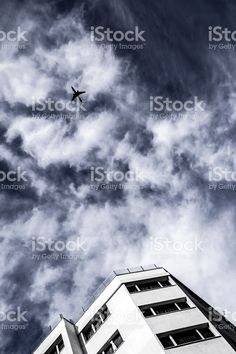 Airplane Is Passing Through The Sky royalty-free stock photo
