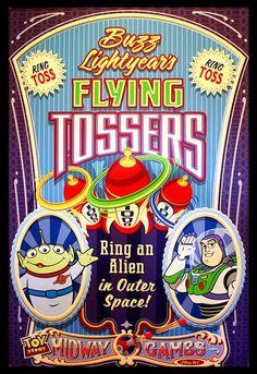 Wallpaper Iphone Disney - Disney-Toy Story Midway Mania Flying Tossers by HouseOfRouse - Disney Pixar, Disney Rides, Disney Toys, Disney Art, Vintage Disney Posters, Vintage Cartoon, Citations Disney, Toy Story Buzz Lightyear, Tsumtsum