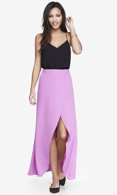 Express HIGH WAISTED WRAP MAXI SKIRT - MAGENTA - 50% off and perfect for the holidays!!