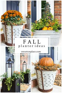 Front Porch Ideas: Fall Planters with Mums & More Easy front porch ideas for fall: inspiration for budget-friendly fall planters with mums and other autumn decor, including pumpkins, gourds and more. Fall Home Decor, Autumn Home, Front Porch Fall Decor, Fall Front Porches, Home Design, Rustic Outdoor Decor, Fall Planters, Front Porch Planters, Porch Decorating