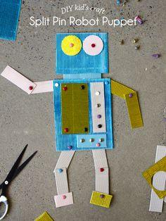 Kid's Craft - DIY Split-Pin Robot Puppet - Paper and Pin