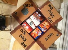 Deployment care package- got to make sure to do this one!! Greg loves his pumpkin spice latte. Or dorm