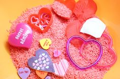 This listing is for a 60 piece Valentines day themed sensory table or bin accessories. You get everything pictured EXCEPT RICE AND BIN NOT INCLUDED. This set is great for a sensory table or just creat