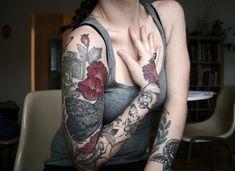 67 Flower full sleeve tattoo