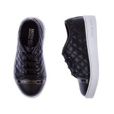Michaels Kors Girls Black Quilted Lace Up Trainers (€81) ❤ liked on Polyvore featuring kids