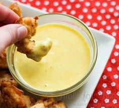 Best sauce ever: 1/2 cup mayo, 2 tbsp. mustard, 1/2 tsp. garlic powder, 1 tbsp. vinegar, 2 tbsp. honey, Salt, and pepper.