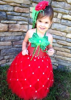 Girls Strawberry Tutu Dress Halloween Costume (Newborn - 5T)
