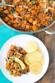 This Mexican Quinoa and Sweet Potato Skillet is an easy one pot meal that you can have on your table in 30 minutes! Black beans add even more protein to this vegetarian dinner.