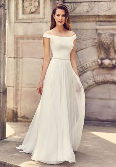 View Romantic Tulle Skirt Wedding Dress - Style from Mikaella Bridal. Crêpe bodice with off the shoulder neckline. Crêpe belt at waist. Top Wedding Dress Designers, Wedding Dress Styles, Dream Wedding Dresses, Designer Dresses, Wedding Gowns, Prom Dresses, Event Dresses, Timeless Wedding Dresses, Bridal Designers