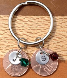 Personalized Hand Stamped Penny Keychain for Special Occasions via Etsy