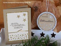 Stempelkrempel mit Papier by Annies Stempelstübchen Many stars and glittering, Weihnachtskarte und Anhänger mit Glitzer und Sternen
