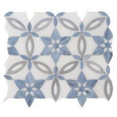 Aurora Onyx and Stained Glass Waterjet Mosaic - 11 x 13 - 100572130 Blue Tile Backsplash Kitchen, Decorative Tile Backsplash, Mosaic Backsplash, Backsplash Ideas, Kitchen Floor, Wall Tiles, Kitchen Cabinets, Blue Mosaic Tile, Mosaic Bathroom