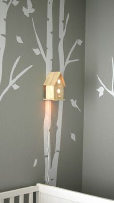 Woodland forest theme with birds house night light! Oh my goodness. YES YES YES!!!