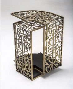 Unique Arabic calligraphy side table by designer Iyad Naja