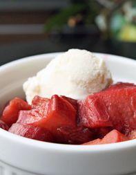 Baked Rhubarb with Raspberries