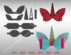 Unicorn Bow SVG, DIY 3D Bow Cut File, Leather Hair Accessories Making Vector DXF Template Silhouette