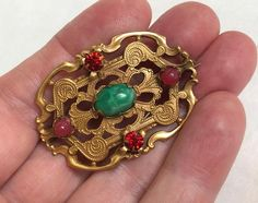 Vintage Brooch Antique Brass Art Nouveau Pin Unique Vintage | Etsy Vintage Gifts, Etsy Vintage, Unique Vintage, Vintage Vogue Fashion, Jade Green Color, Antique Brooches, Gold Wash, Turquoise Stone, Mother Gifts