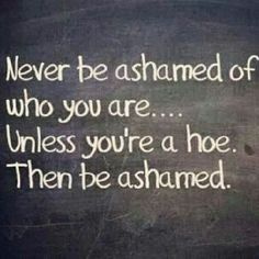Never be ashamed of who you are life quotes funny quotes quote life life lessons inspiration be yourself hoe