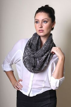 Women's Grey Python Snake Infinity Circle Loop Scarf // Trendy Modern Scarves. Unique Holiday Gift Ideas.
