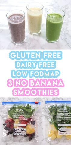 3 Low FODMAP Recipes For Weekly Meal Prep (no banana & dairy free) Here's my 3 low FODMAP smoothie recipes with no banana in sight. They're all gluten free and dairy free too and perfect for weekly meal prep. Smoothie Prep, Smoothie Fruit, Keto Smoothie Recipes, Healthy Smoothies, Dairy Free Smoothie, Lactose Free Smoothies, Smoothie Packs, Smoothie Cleanse, Cleanse Detox