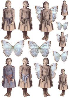 Free freebie printable vintage girl photo butterfly wings