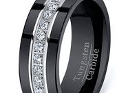 FAVORITE High End Black Darkness Tungsten Carbide Ring With Brilliant Stones HIGH QUALITY Mens Wedding Band