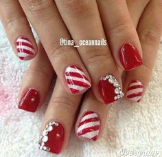 Polish Christmas Nail Art Designs - 47 Christmas Nail Art Designs to Inspire You! Find them all right here - http:christmas-nail-art-designs Xmas Nails, Red Nails, Christmas Nails, White Christmas, Diy Christmas, Christmas Candy, Christmas Glitter, Christmas Christmas, Beautiful Christmas