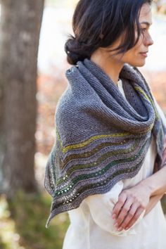 Kelpie shawl by Jared Flood (Brooklyn Tweed).  Sweet, simple and all sorts of color options. LOVE!