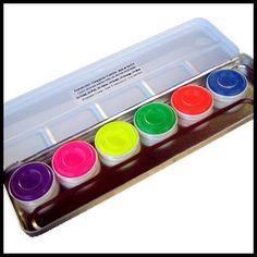 ♥ Kryolan UV Neon Aquacolor Palette Day-Glow Blacklight Makeup Drag Queen Cyber | eBay