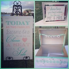 sweet mint accents for the barnecut & maskell wedding today!! #bzybarny2014  #wedding #sandiegowedding #ceremony #outdoorwedding #cardbox #missionbay