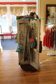 Repurposed shutters made into a display rack