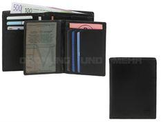 MANO Certo - Leder Geldbörse und Ausweisetui (6KF) mit RFID Schutz Portemonnaie - schwarz