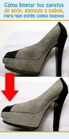 Cómo limpiar tus zapatos de ante, gamuza o nobuk, para que estén como nuevos #limpiar #gamiza #nubuk #ante #zapatos Diy Cleaning Products, Cleaning Hacks, Queso Fresco, Beauty Hacks, Power Clean, Clean Up, Agregar, Housekeeper, Laundry Hacks