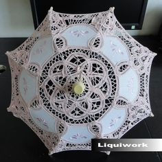 Light Pink Kids Flower Girl Girls Lace Decoration Sun Parasol Umbrellas SKU-71104028