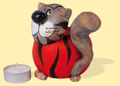 Teelichthalter Katze Miez rund rot - Klick:  Zurück zu Katzen Miez & Mauz