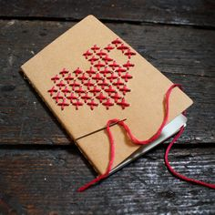 Brown Notebook with embroidered Heart - hand stitched embroidery journal / moleskine - DIY kit cross stitch