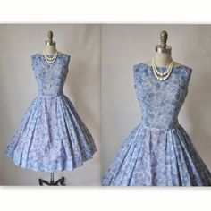 50's Floral Dress // Vintage 1950's Blue Leaf Print Garden Party Casual Day Dress M