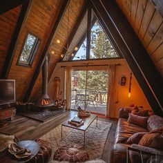 A Frame House Plans, A Frame Cabin, Tiny House Cabin, Cabin Homes, Cabin Design, Tiny House Design, Chalet Design, Architecture Cool, Cabin Interiors
