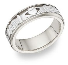 Celtic Claddagh Wedding Band Ring - 14K White Gold