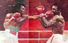 Bart Forbes painting Leonard vs. Hearns, Sept. 1981.