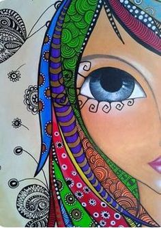 This is a beautiful zentangle drawing! I love how the hair strands are the patterns. Art Pop, Urbane Kunst, Arte Popular, Art Journal Inspiration, Face Art, Medium Art, Doodle Art, Diy Art, Art Projects