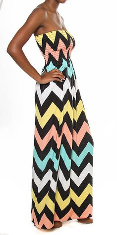 dont usually go for strapless, but I dig this: Zig Zag Maxi Dress