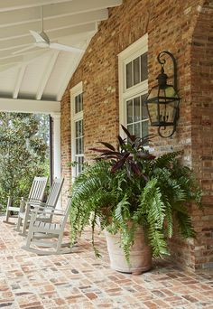 Brick House with brick porch Brick House with brick flooring on porch Brick is Reclaimed Old Chicago brick with rough mortar Brick House with brick porch ideas Traditional Brick House with brick porch Georgian Homes, Porch House Plans, Brick Flooring, House With Porch, Brick Exterior House, Brick Farmhouse, Farmhouse Front Porches, Traditional Brick Home, Farmhouse Landscaping