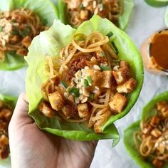HELLO YUM. Firecracker Lettuce Wraps that are happily vegan - with crispy tofu bits, saucy brown rice noodles, and a creamy sesame sauce. #lettucewrap #vegan #tofu #veganlettucewrap #meatless #vegetarian   pinchofyum.com